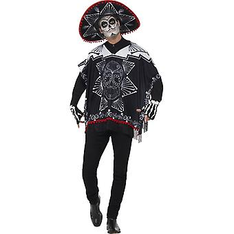 Day of the dead poncho Mexican Bandit costume adult