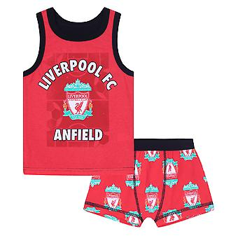 Liverpool FC Official Football Gift Boys Boxer Shorts & Vest Set