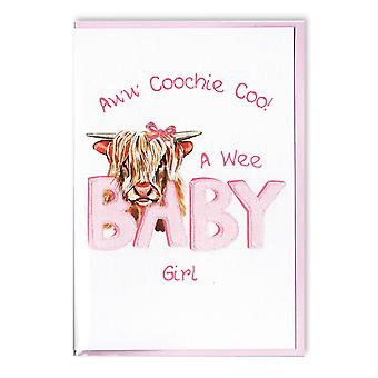 Embroidered Originals  Highland Cow Coochie Coo Baby Girl Card