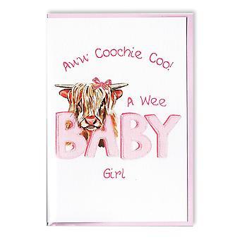 Kirjailtu alkuperäiset Highland lehmän Coochie COO vauva tyttö kortti