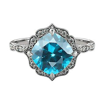 14K White Gold 1.25 ctw Aquamarine Ring with Diamonds Flower Leaves Halo