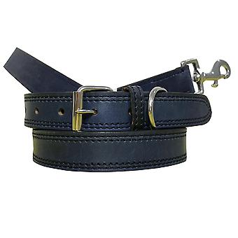 Bradley crompton genuine leather matching pair dog collar and lead set bcdc17navyblue