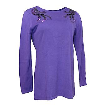 Bob Mackie Women's Sweater Boat Neck Pullover w/ Sequins Purple A296424