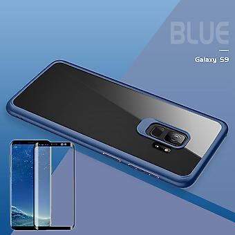 For Samsung Galaxy S9 G960F original ROCK silicone case pouch case Blue + 4 d glass