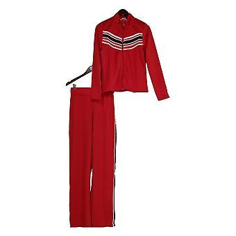 K Jordan Plus Set Striped Zip Front Jacket & Pants True Red