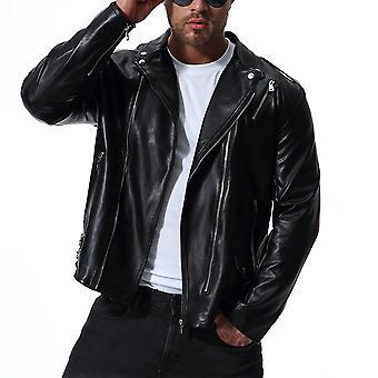 Allthemen الرجال & apos;ق معطف جلدي سميك أزياء الخريف والشتاء سترة جلدية