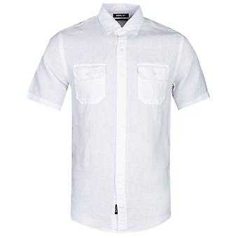 Replay Regular Fit White Chest Pocket Short Sleeve Shirt