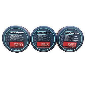 Matrix Men Clean Shine Pomade Light Hold 1.7 OZ Set of 3