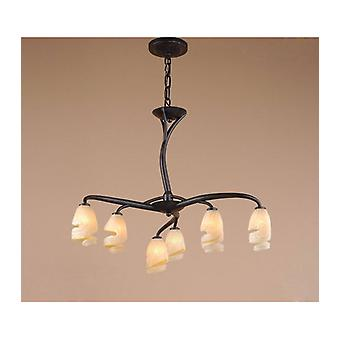 Suspension Forest 3 Arm 6 Bulbs G9, Brown / Black Oxidized