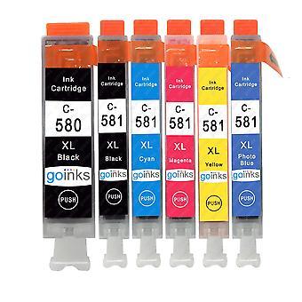 1 Ensemble de 6 cartouches d'encre pour remplacer Canon IGI-580 & CLI-581 Compatible/non-OEM de Go Inks (6 Encres)