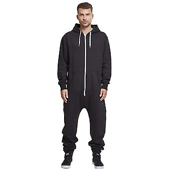 Urban classics - SWEAT jump suit black / white