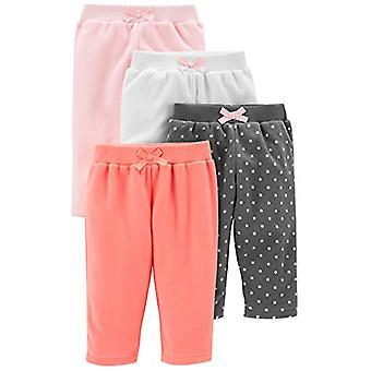 Simple Joys by Carter's Girls' 4-Pack Fleece Pants, Pink/Navy Dot/Ivory, 12 M...