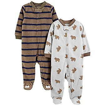 Simple Joys by Carter's Boys' 2-Pack Fleece Footed Sleep and Play, Brown Bear...