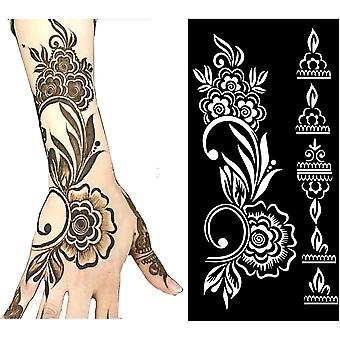 Drawing Templates Of  Mehndi-hollow  Stencils For Hand, Arm, And Leg