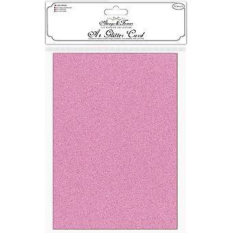 Craft Consortium Glitter Kort A4 Fuchsia Rosa