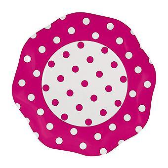 Fuchsia Polka Dots 27cm Shaped Paper Party Plates