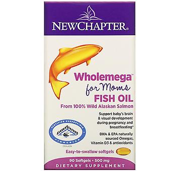 New Chapter, Wholemega for Moms Fish Oil, From Wild Alaskan Salmon, 500 mg, 90 S