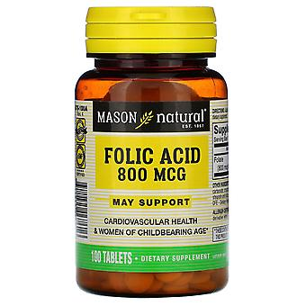 Mason Natural, Folic Acid, 800 mcg, 100 Tablets