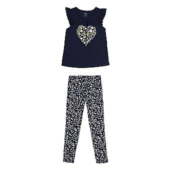 French Toast Girls' Little Short Sleeve Flutter Tee/Printed Legging Set, Navy...