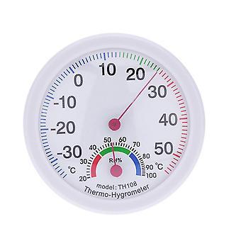 Rund plastfodral Luftfuktighet Termometer Hygrometer Vit
