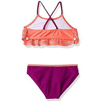 Rivstar Big Girls' Butterfly Laser Cut Flounce Bikini 2PC, Coral, 14