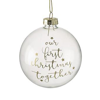 8cm Single Clear Glass Gift Bauble 'Our First Christmas Together'