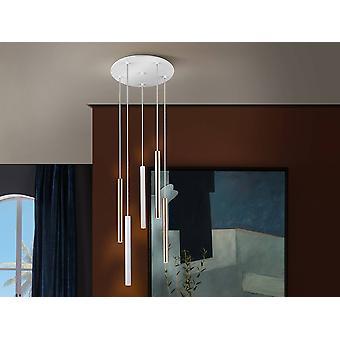Integrated LED 5 Light Dimmable Cluster Drop Ceiling Pendant Matt White, Gold