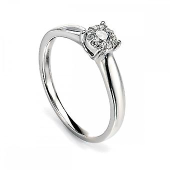 Elements Gold Elements White Gold Diamond Cluster Ring GR425Z477