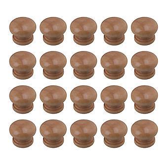 20Pcs Wooden Cabinet Knobs Mushroom Head Door Handle 2.5x2.35cm