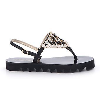 Black Leather Flip Flops Sandal With Rhinestones