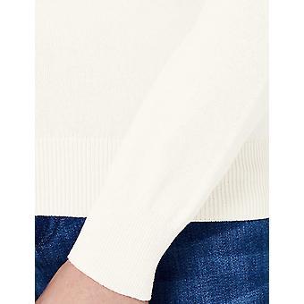 MERAKI Women's Cotton Crew Neck Sweater,  Off-White (Ivory), EU XS (US 0-2)