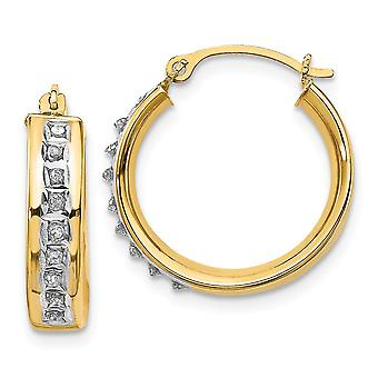 14k Yellow Gold Polished Diamond Fascination Round Hinged Hoop Earrings Jewelry Gifts for Women