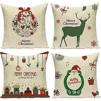 Fire jul trykte firkantede pudebetræk