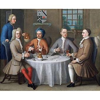 Sir Thomas Sebright Sir John Bland and Two Friends Poster Print by  Benjamin Ferrers