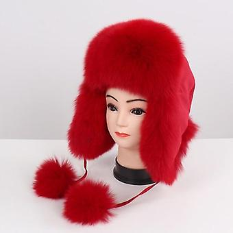 Natural Fox Fur Russian Ushanka Winter Thick Warm Ears Fashion Bomber Hat