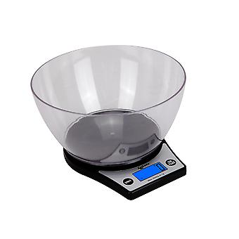 Kabalo Black Kitchen Scales With Bowl Household Food Cooking Weighing Scale 5kg capacity 5000g/1g, Batteries Incluses! Flat Slim Design, Premier LCD Digital Electronic, avec rétro-éclairage bleu Chef Baking Baker Bake Weigh