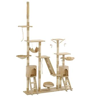 شجرة خدش القط مع أعمدة خدش سيزال 230 - 250 سم بيج