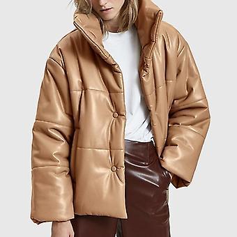 Sólido pu couro down parkas mulheres casacos de imitação alta, jaquetas de algodão grossas