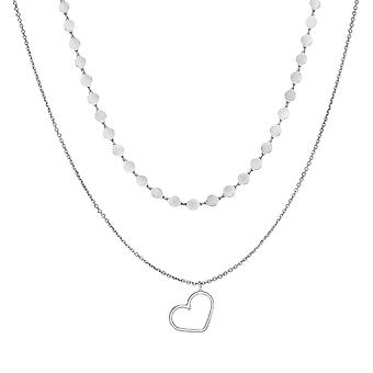 "Sterling Silver Heart Pendant Choker Necklace, 16"""