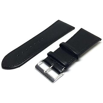 34Mm extra wide watch strap black smooth calf leather with gold and chrome buckles 30mm to 40mm
