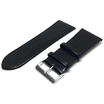 34Mm correa de reloj extra ancha negro piel de becerro lisa con hebillas de oro y cromo 30mm a 40mm