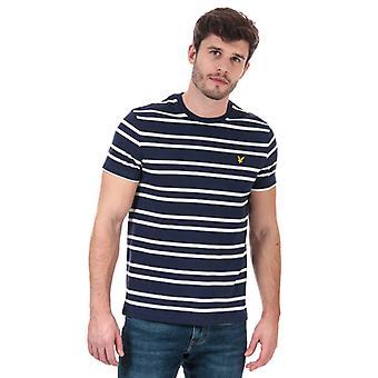Men's Lyle und Scott Doppel Streifen T-Shirt in blau