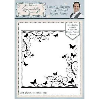 Sentimentally Yours Butterfly Elegance Large Stitched Square Frame Pre Cut Stamp
