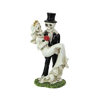 Eternal Bliss Skeleton Bride and Groom Wedding Couple Statue Cake Topper