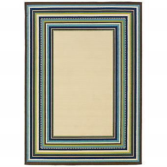 4' x 6' Ivory Mediterranean Blue and Lime Border Indoor Outdoor Area Rug