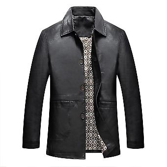 Allthemen Men's Stand Collar Leather Jacket Motorcycle Lightweight Faux Leather Outwear