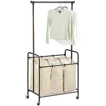 HanFei Wschesammler – Wschekorb mit 3 Fchern und Kleiderstange aus Polyester und Metall