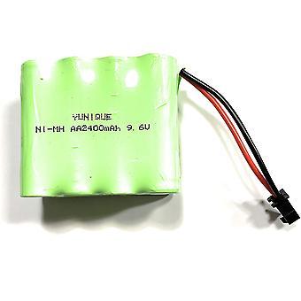 Uppladdningsbart batteri 9.6v 2400mah ni-mh aa med SM-2p 2pin plugg för rc lastbilsbilar fordon