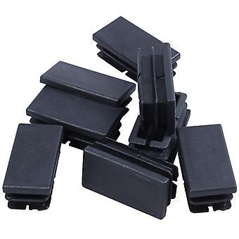 Hot Xd-8 Szt Czarny plastik Prostokątne zaślepki Czapki końca 20mm X 40mm