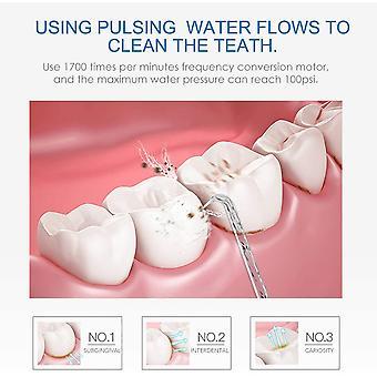Dental Oral Flosser Irrigator 600ML Large Reservoir Capacity with Multifunctional Tips 10 Water Pressures
